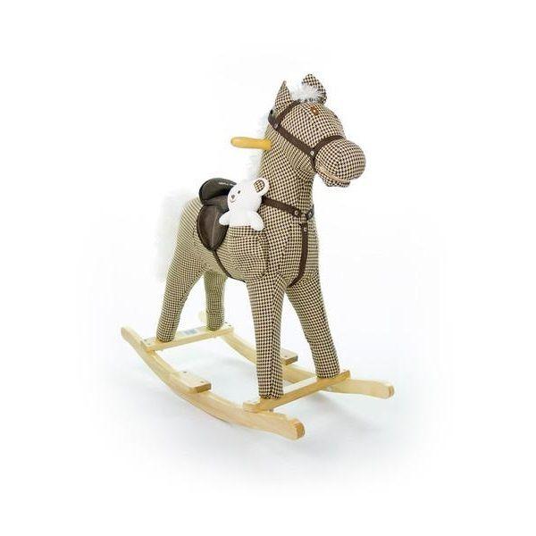 Houpací koník Milly Mally Mustang béžový kostkovaný