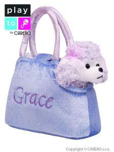 Dětská plyšová hračka PlayTo taška s pejskem fialová