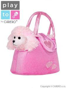 Dětská plyšová hračka PlayTo taška s pejskem růžová