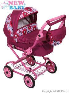 Hluboký kočárek pro panenky New Baby fuchsiový