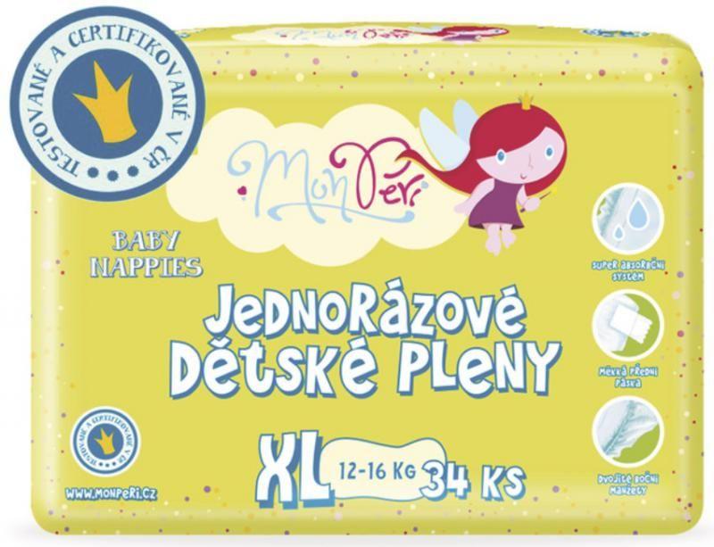 MonPeri Jednorázové dětské plenky 34ks vel. XL 12-16 kg