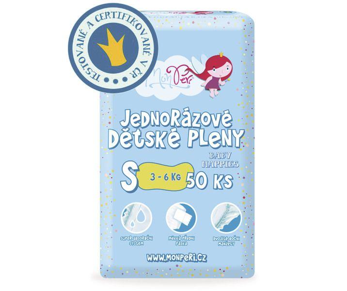 MonPeri Jednorázové dětské pleny 50ks vel. S 3-6 kg
