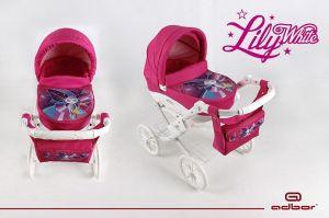 Adbor Kočárek pro panenky Lily White motýlek